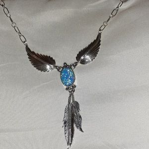 Gorgeous Lab Opal Sterling Silver Feather Necklace